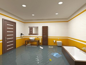 Flooded Bathroom Due To A Ruptured Pipe During A Storm